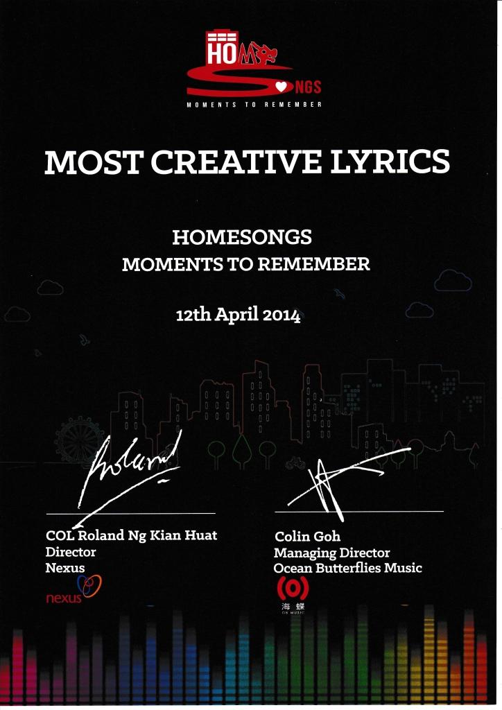 Most Creative Lyrics -- Kevin Seah  (Homesongs)